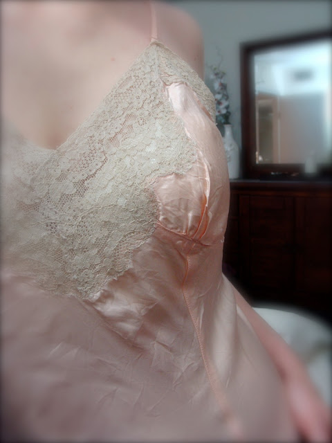 vintage slip in blush pink rayon and silk