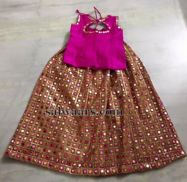 Mirror Work Simple Baby Lehenga Indian Dresses