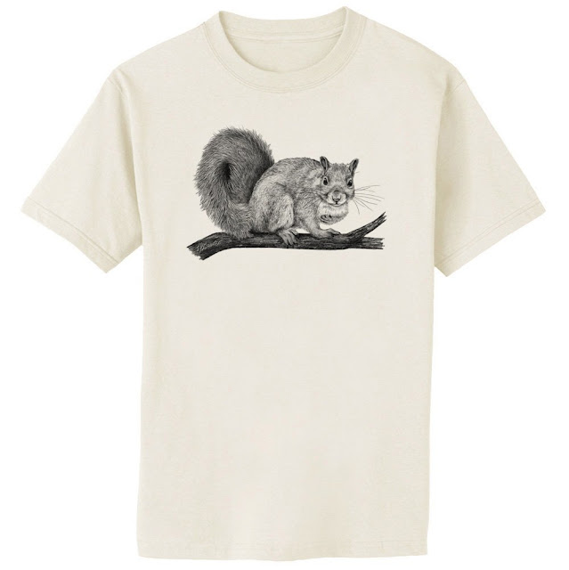 black and white squirrel drawing shirt