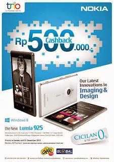 Nokia Lumia 925 CashBack Rp 500 Ribu (Promo Desember 2013)