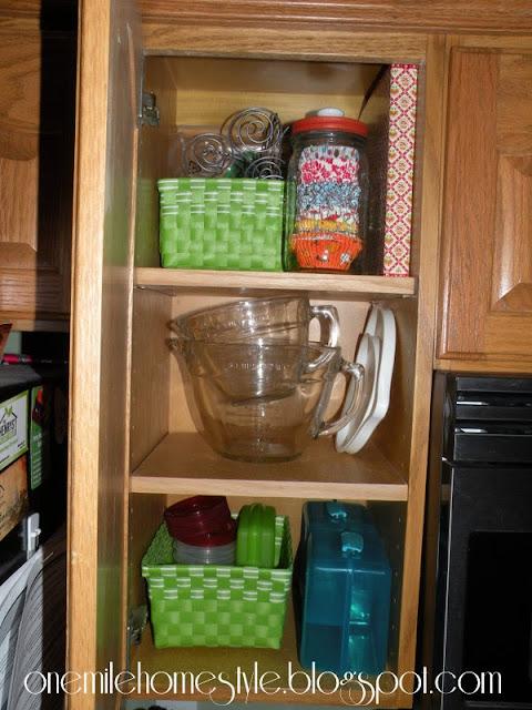 Baskets to organize kitchen cabinets