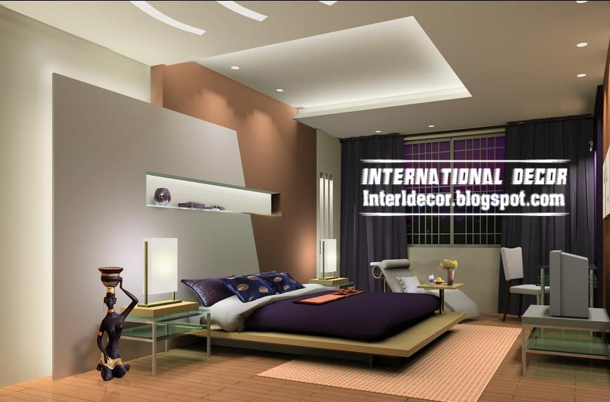 Modern pop false ceiling designs for bedroom interior  gypsum 2017