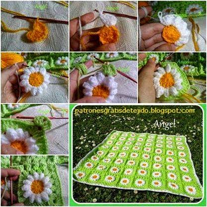 Manta de margaritas al crochet