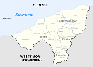 Map showing location of Oecusse District in East Timor