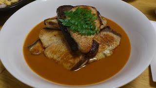 出張料理:白身魚のグリル オマール海老ソース