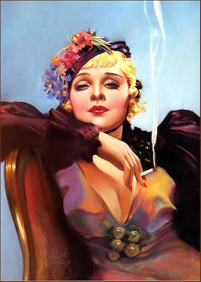 chica de los años veinte fumando de Rolf Armstrong