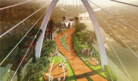 Phối cảnh ''vườn thiền'' trên không (Sky Park) tại dự án Diamon Lotus - Công trình xây dựng theo chuẩn xanh LEED của Mỹ do Công ty Phúc Khang làm chủ đầu tư.