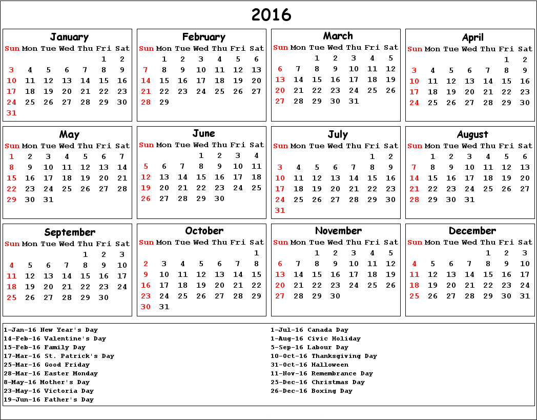 Calendar with Holidays Images, 2016 Calendar Template with Holidays ...