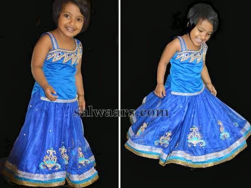 Smiley Kid in Blue Lehenga