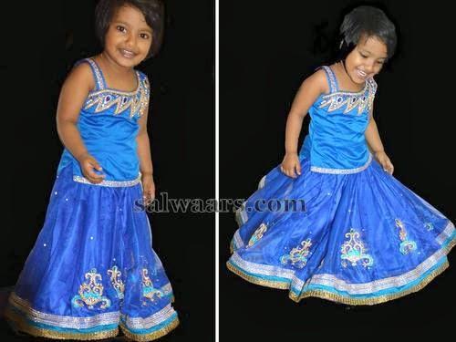 Smiley Kid in Blue Lehenga