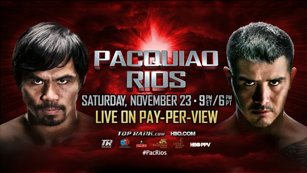 Manny Pacquiao vs Brandon Rios boxing at nov 23