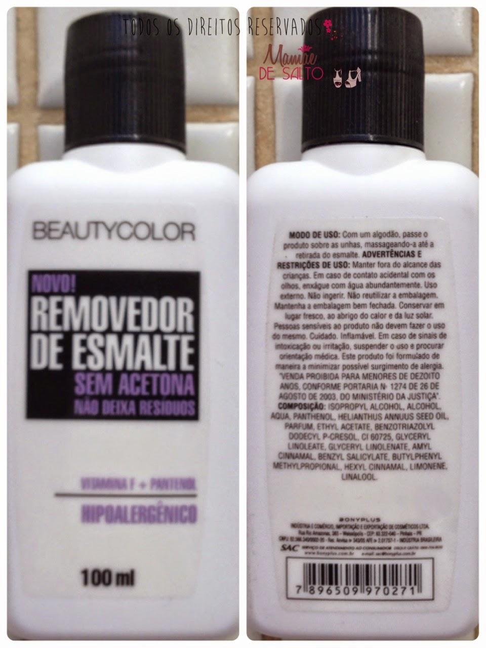 removedor de esmalte sem acetona Beauty Color - blog Mamãe de Salto