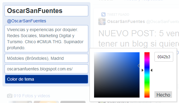 cambiar color perfil twitter