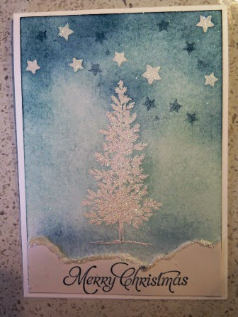 Lovely as a Tree using heat and stick powder with Iridescent ice and the Stars decorative mask