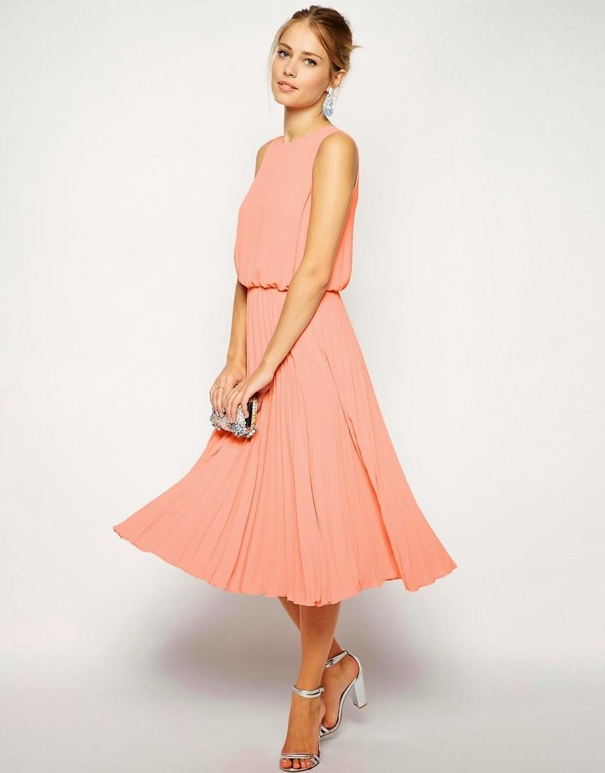 peach pleated skirt dress
