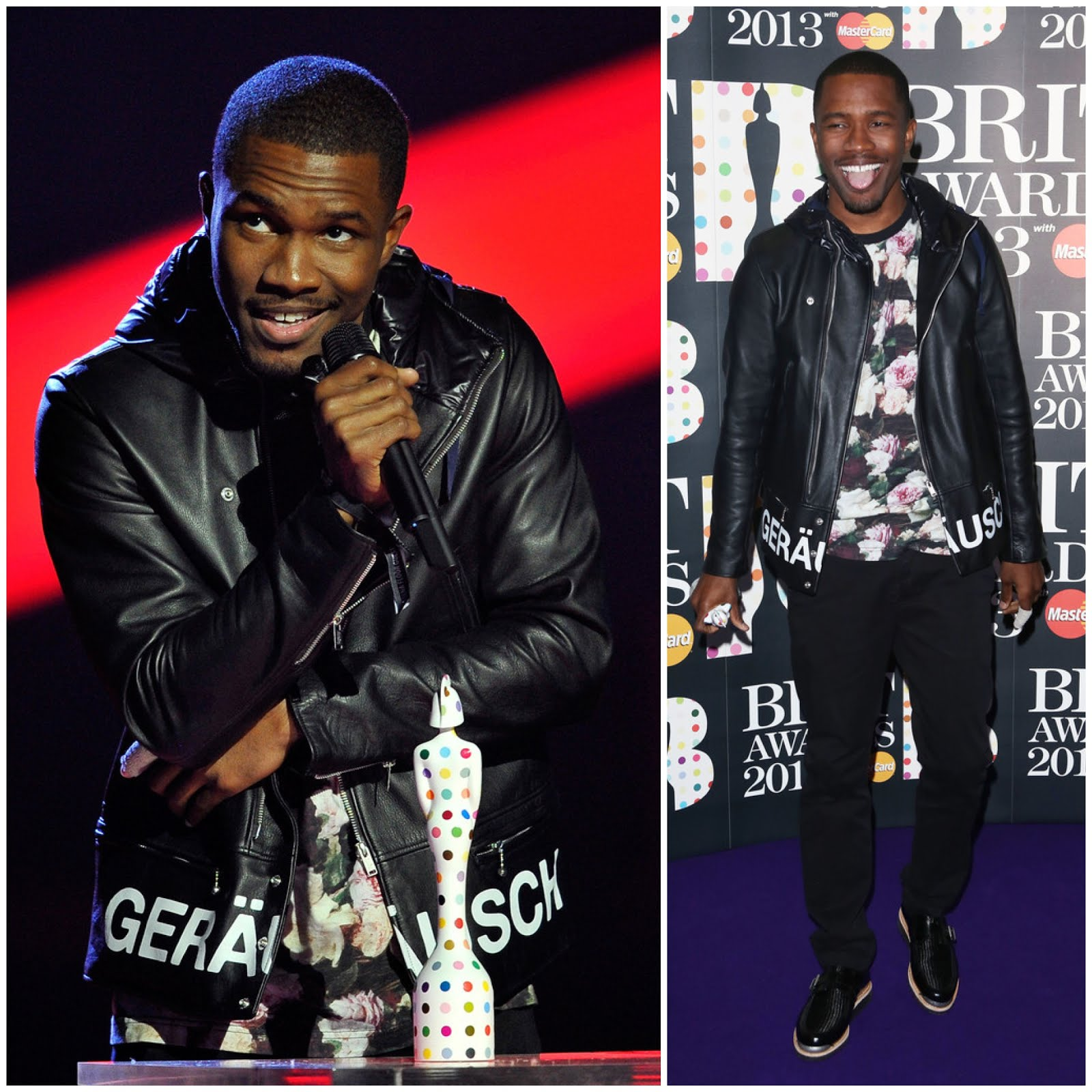 00O00 Menswear Blog Frank Ocean in UnderCover by Jun Takahashi and Supreme rose print tshirt - Brit Awards 2013, #Brits2013