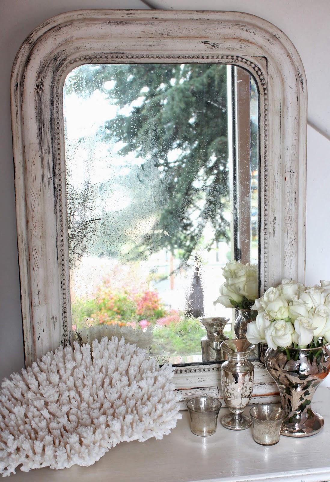 White Italian Bead Mirror; White vignette