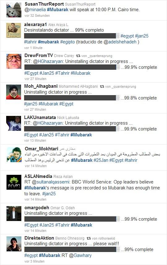 Die Welt will, dass Mubarak heute geht