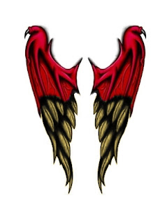 red demon to angel wing tattoo designs