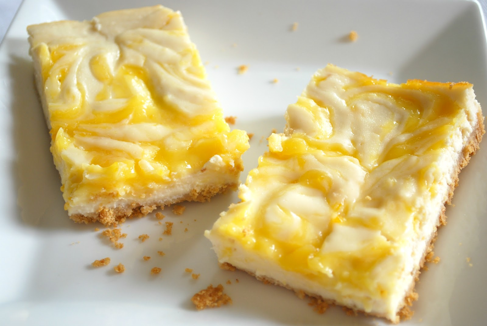 Meyer Lemon Curd-Swirled CheesecakeBars