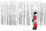 Kırmızı kimonolu kız...