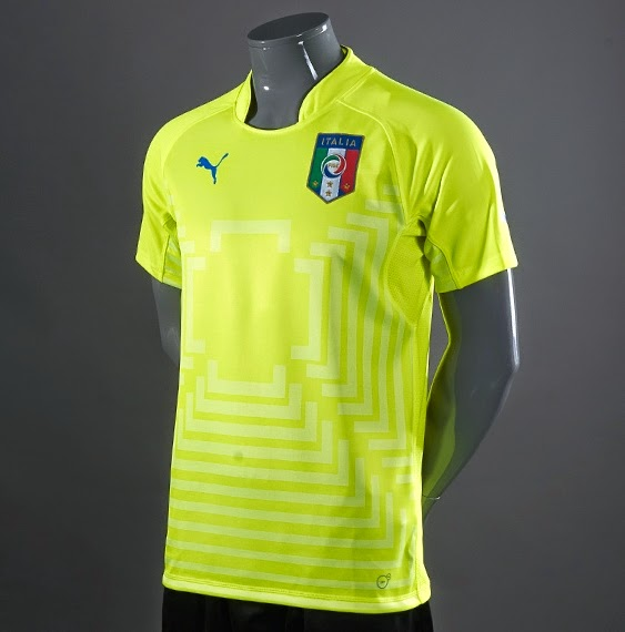 Italy 2014 World Cup Yellow Adult Goalkeeper Jersey
