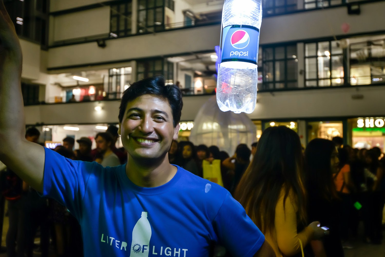 "Illac Diaz, Founder of Liter of Light poses by the solar bottle light at The Pepsi x Liter Of Light ""Ignite The Light"" Tour at PMQ, Central on March 15, 2015 in Hong Kong"