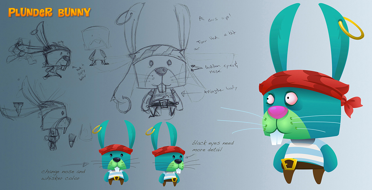 punder bunny main character sketch and vector illustration mockup