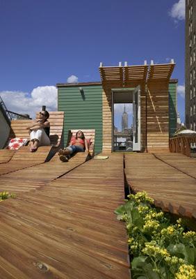 Decoración de terrazas con maderas y plantas en New York
