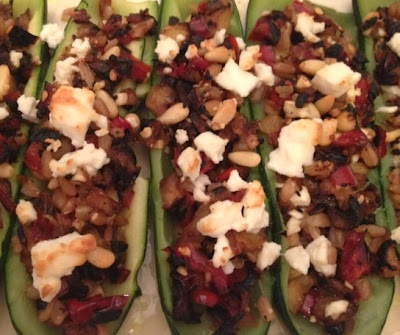 Stuffed Zucchini With Farro, Red Pepper And Feta recipe
