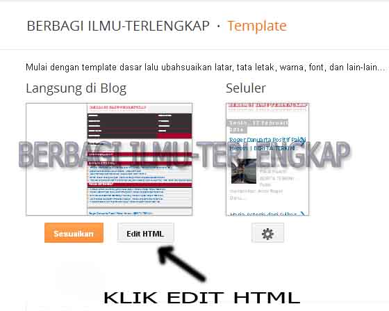Gambar tampilan edit html blog