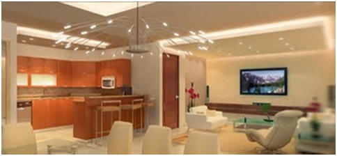 MODERN LIVING DINING ROOM WITH BREAKFAST BAR