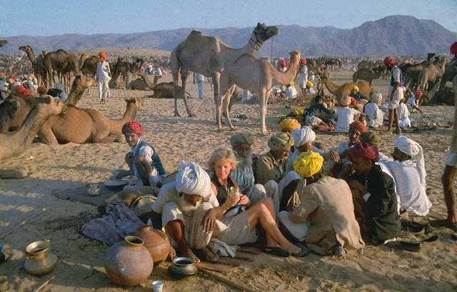 A foreign visitor among local at Pushkar Cattle Fair