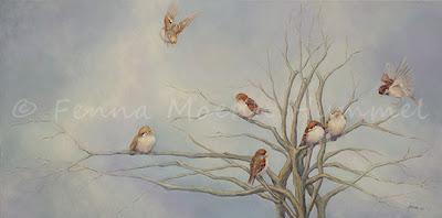 Schilderij bij de Bijbel: Leven in Vrijheid, gebaseerd op de zorg van onze Hemelse Vader voor de musjes