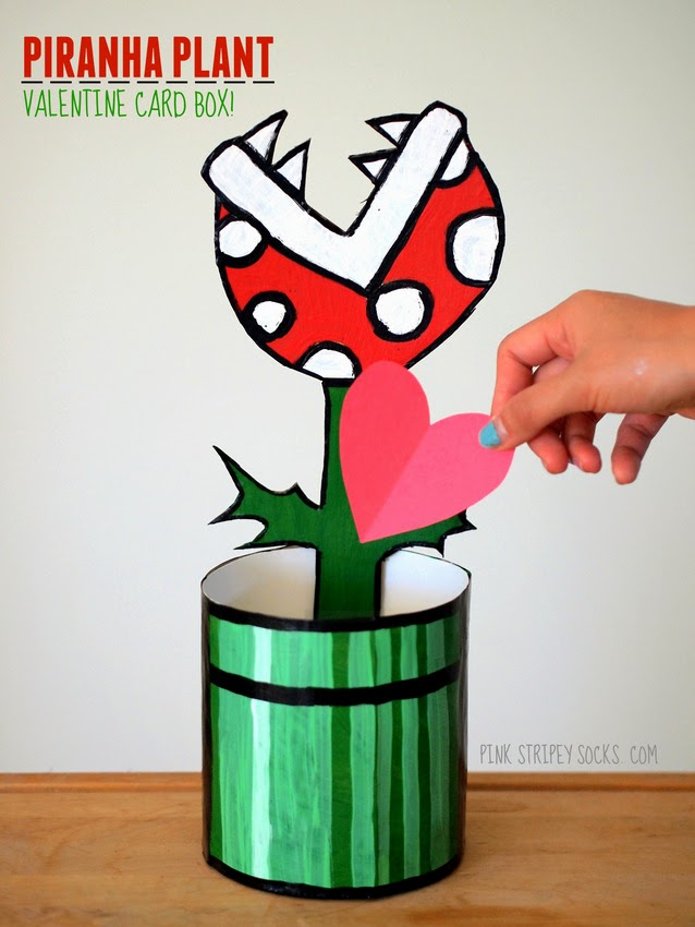 Piranha Plant Valentine Card Box Pink Stripey Socks