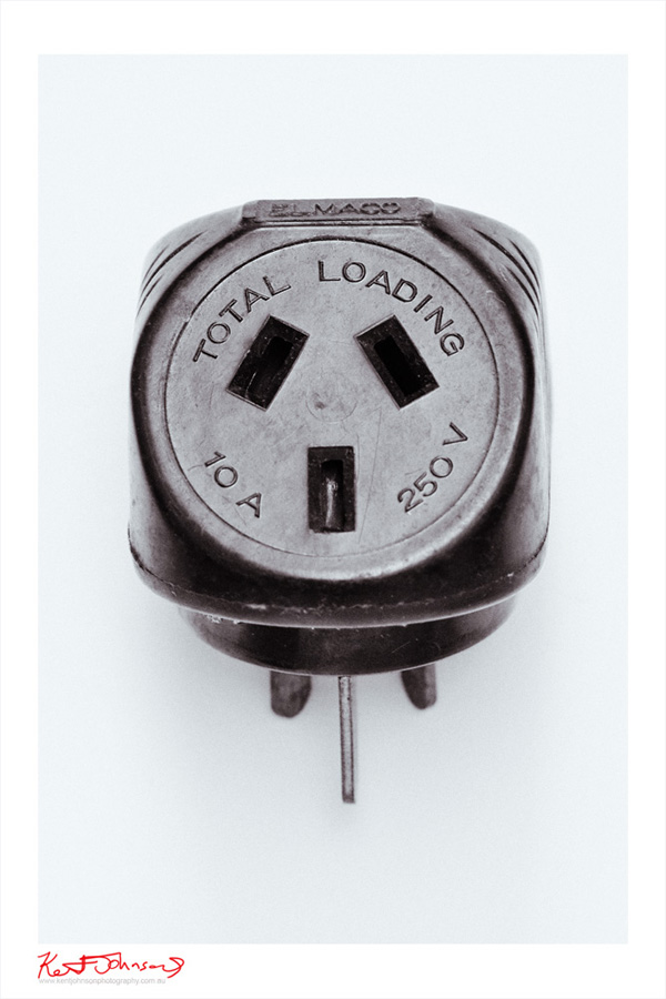 Bakelite Electrical Components - Double Adaptor. Black and White Still Life Photography.