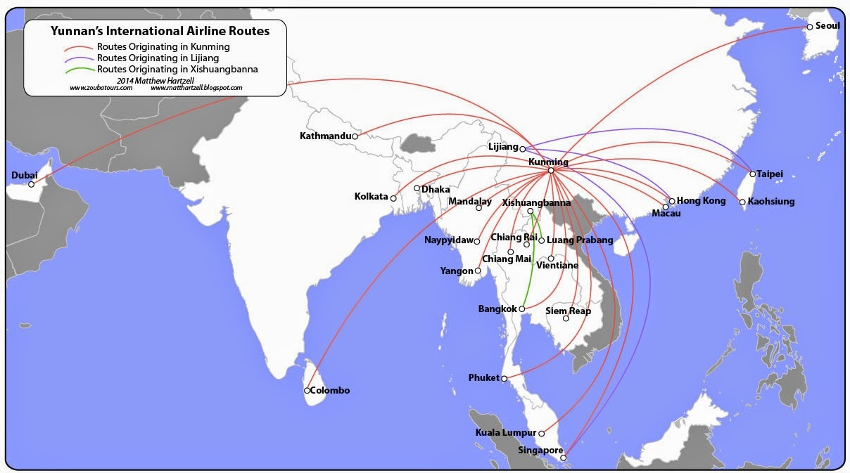 List of major power stations in yunnan - Three Airports In Yunnan Province Together Combine For 27 International Routes Click Map To Enlarge