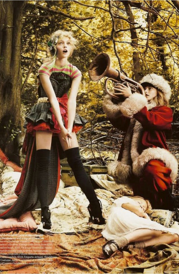 Sasha Pivovarova by Mario Testing for Vogue UK December 2007 Christmas theme editorial / Come home for Christmas Jon Bon Jovi & Cindy Crawford video by Herb Ritts via fashioned by love / british fashion blog