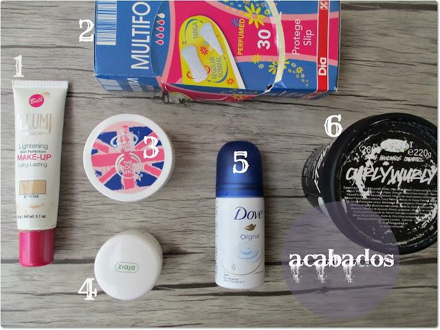 Productos Acabados: Bell, The Body Shop, Lush y Dove