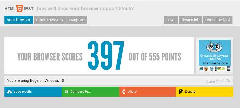 suporte de html 5 do microsoft edge