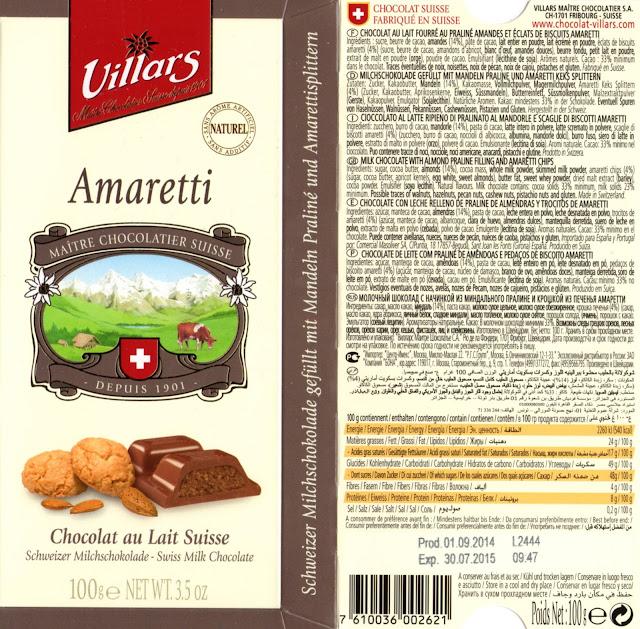 tablette de chocolat lait fourré villars lait amaretti