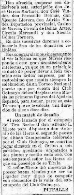 Noticia sobre el I Torneo Nacional de Ajedrez de Murcia 1927, El Liberal, 1 de enero de 1927 (2)