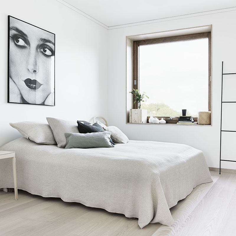The all white bed style statement cococozy for Minimalist bedroom white