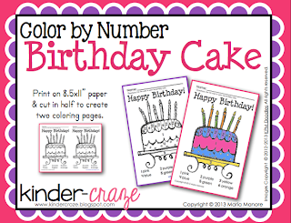 FREE color by number birthday cake