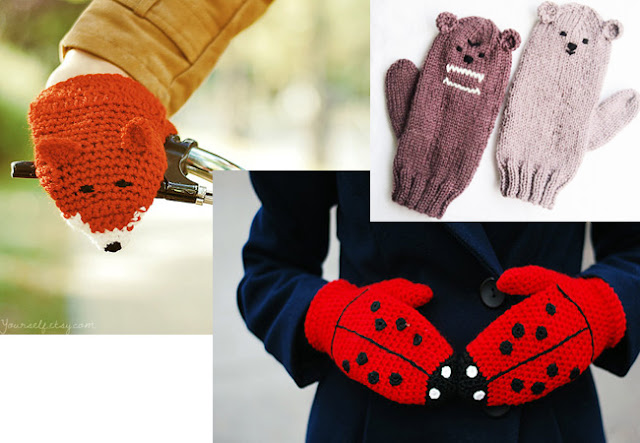 animal gloves, crochet, knitted