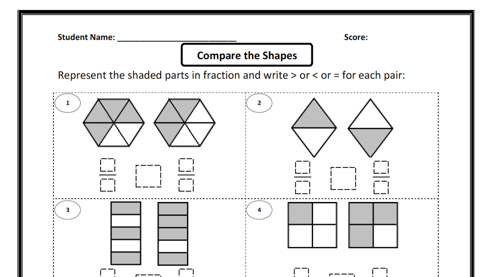 Comparing Fractions Worksheet – Fractions Comparing Worksheet