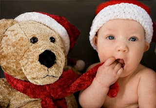Christmas 2015 Baby Photos Ideas with Teddy Bear