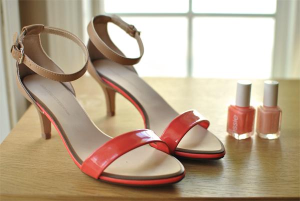 coral zara heels
