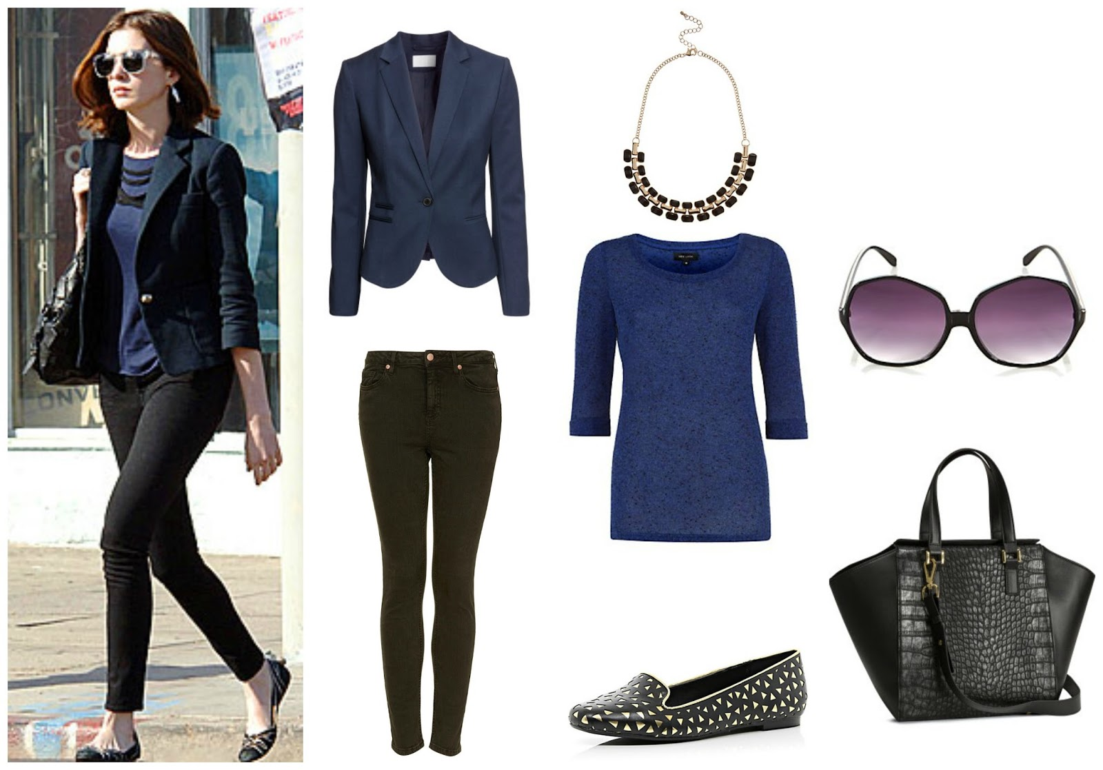 A collage of Anne Hathaway's casual style