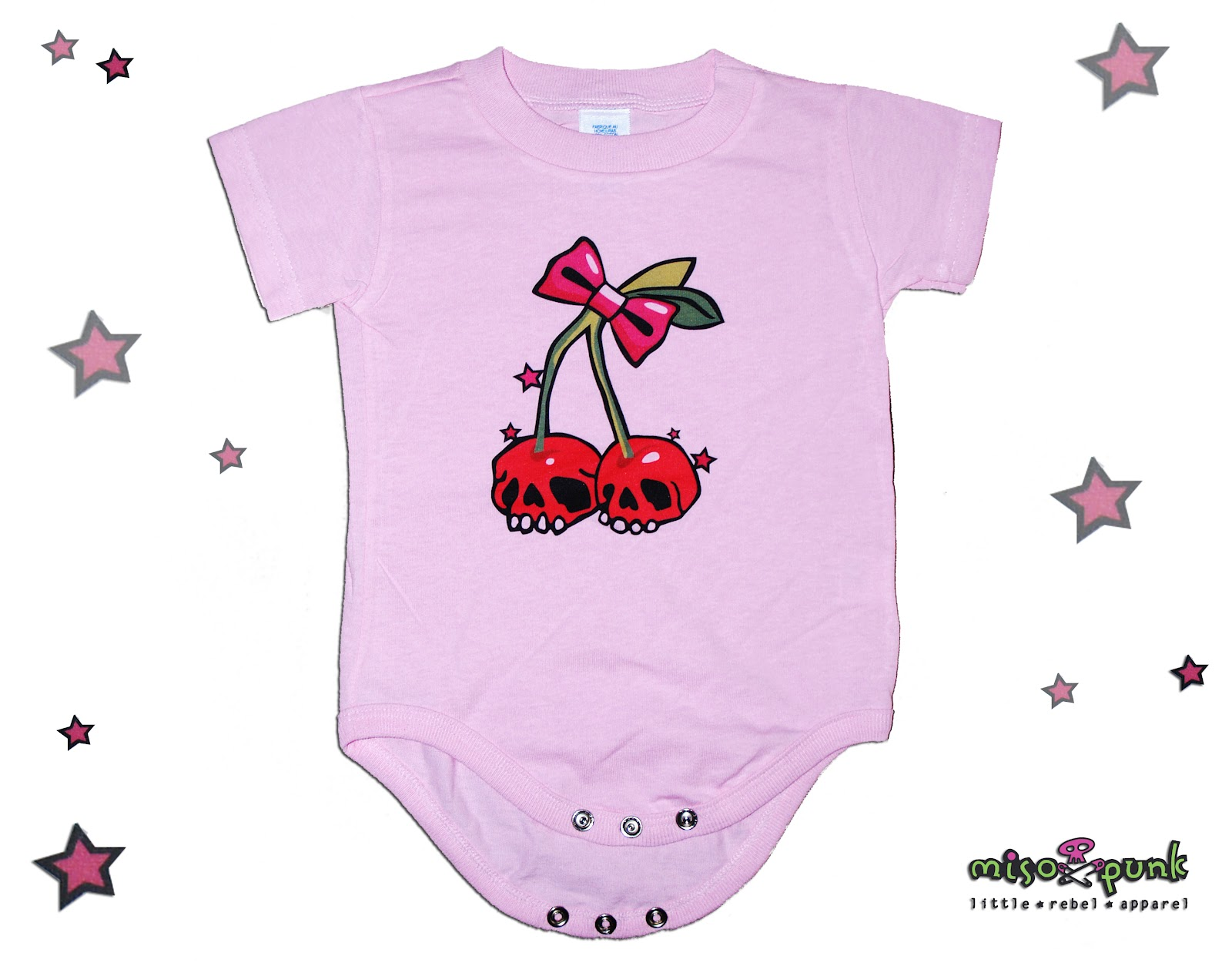 Punk Baby Clothing Rockabilly Miso Cherry Skulls esie and Tee Shirt